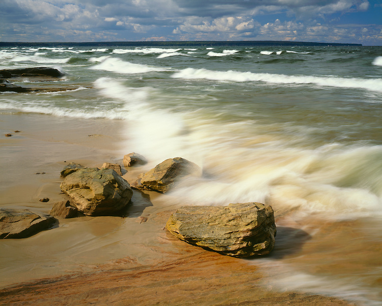 Storm waves on the shore of Lake Superior; Pictured Rocks National Lakeshore, MI