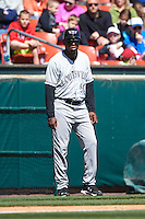 Louisville Bats manager Delino DeShields (90) during a game against the Buffalo Bisons on May 2, 2015 at Coca-Cola Field in Buffalo, New York.  Louisville defeated Buffalo 5-2.  (Mike Janes/Four Seam Images)