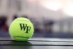 WINSTON-SALEM, NC - JANUARY 23: Wake Forest tennis ball. The Wake Forest University Demon Deacons hosted Coastal Carolina University on January 23, 2018 at Wake Forest Tennis Complex in Winston-Salem, NC in a Division I College Men's Tennis match. Wake Forest won the match 6-1.