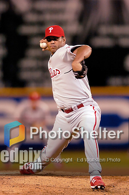 3 September 2005: Ugueth Urbina, pitcher for the Philadelphia Phillies, on the mound in relief during a game against the Washington Nationals. The Nationals defeated the Phillies 5-4 at RFK Stadium in Washington, DC. <br />