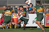 Winger Teisam Faimasasa is confronted with front rowers Mark Price and Livai Toofohe as he makes a run down the right hand flank.  Counties Manukau Premier Club Rugby game between Pukekohe and Manurewa, played at Colin Lawrie Fields, Pukekohe, on Saturday May 28th, 2016. Pukekohe won the game 62 - 18 after leading 19 - 10 at halftime. Photo by Richard Spranger.