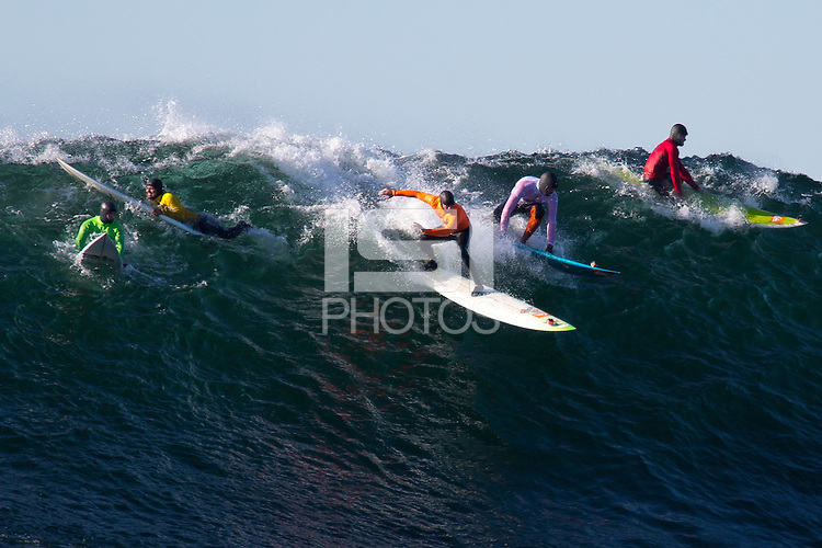 Half Moon Bay - Ca, Sunday, January 20, 2013: Shawn Dollar, Alex Martins, Zach Wormhoudt, Peter Mel and Mark Healey compete during the 2013 Mavericks Invitational..