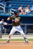 Biloxi Shuckers shortstop Dylan Moore (18) at bat during a game against the Jacksonville Jumbo Shrimp on May 6, 2018 at MGM Park in Biloxi, Mississippi.  Biloxi defeated Jacksonville 6-5.  (Mike Janes/Four Seam Images)