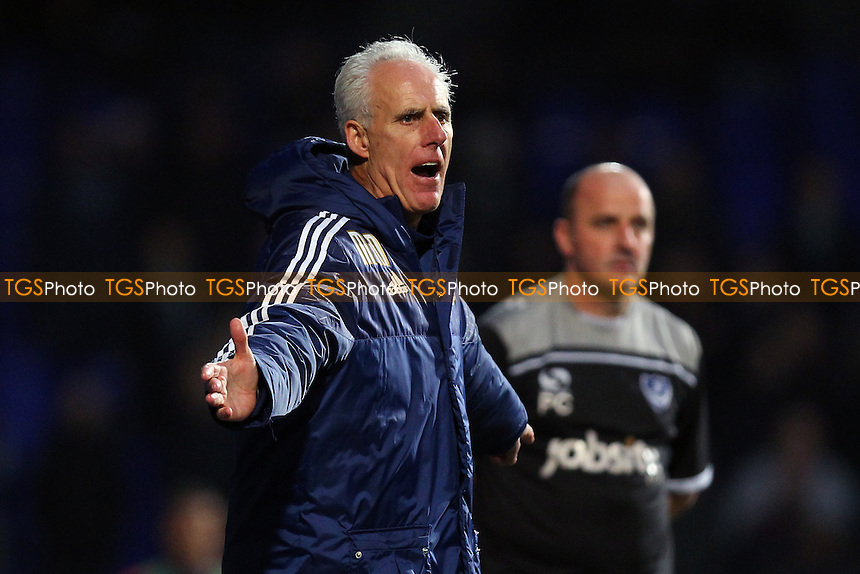 Ipswich Town manager Mick McCarthy shouts to his team during Ipswich Town vs Portsmouth at Portman Road