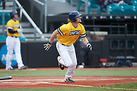 Hogan Windish (18) of the UNCG Spartans hustles down the first base line against the San Diego State Aztecs at Springs Brooks Stadium on February 16, 2020 in Conway, South Carolina. The Spartans defeated the Aztecs 11-4.  (Brian Westerholt/Four Seam Images)