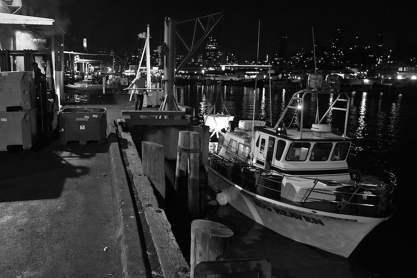The fishing boat Hog Heaven is unloaded of its first dungeness crab catch of the season, in the early morning hours of Sunday, November 16, 2015 at Pier 45 in San Francisco, California.