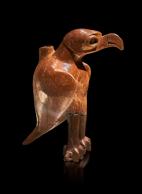 Bronze Age Anatolian eagle shaped ritual vessel - 19th to 17th century BC - Kültepe Kanesh - Museum of Anatolian Civilisations, Ankara, Turkey.  Against a black background.