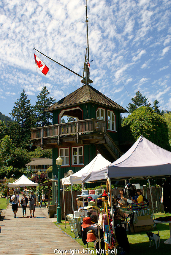 Outdoor market in Snug Cove on Bowen Island, British Columbia, Canada
