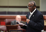 Nevada Assemblyman Harvey Munford, D-Las Vegas, speaks on the Assembly floor at the Legislature in Carson City, Nev. on Friday, Feb. 25, 2011..Photo by Cathleen Allison