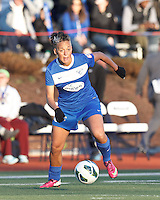Boston Breakers forward Lianne Sanderson (10) controls the ball and looks to pass. In a National Women's Soccer League Elite (NWSL) match, the Boston Breakers (blue) tied the Washington Spirit (white), 1-1, at Dilboy Stadium on April 14, 2012.