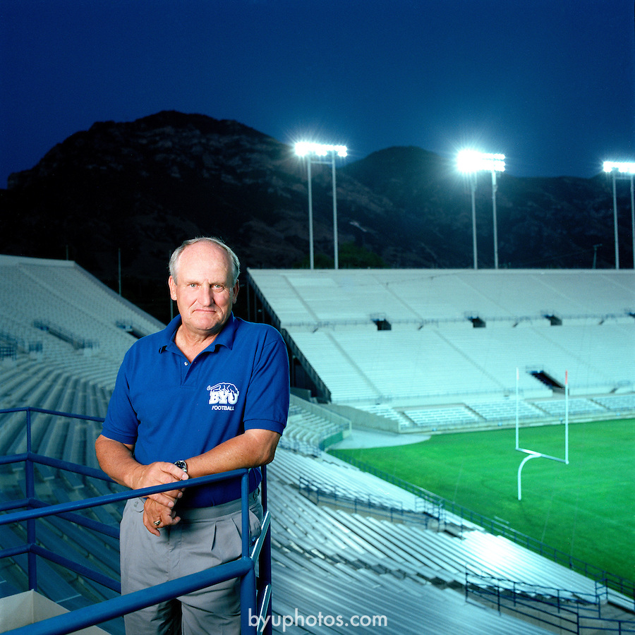Field of Dreams<br /> LaVell Edwards in BYU Football's Stadium<br /> August 1991<br /> 6337<br /> <br /> Photo by Mark Philbrick/BYU