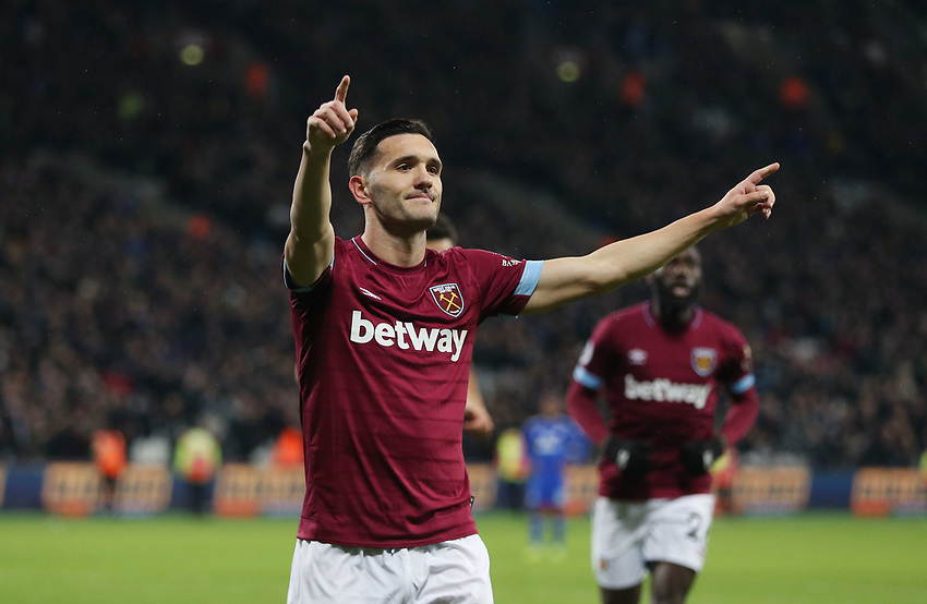 West Ham United's Lucas celebrates scoring his side's second goal <br /> <br /> Photographer Rob Newell/CameraSport<br /> <br /> The Premier League - West Ham United v Cardiff City - Tuesday 4th December 2018 - London Stadium - London<br /> <br /> World Copyright © 2018 CameraSport. All rights reserved. 43 Linden Ave. Countesthorpe. Leicester. England. LE8 5PG - Tel: +44 (0) 116 277 4147 - admin@camerasport.com - www.camerasport.com