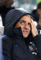 Calcio, Serie A: Juventus vs Inter. Torino, Juventus Stadium, 28 February 2016.<br /> Inter's coach Roberto Mancini sits on the bench during the Italian Serie A football match between Juventus and Inter at Turin's Juventus Stadium, 28 February 2016.<br /> UPDATE IMAGES PRESS/Isabella Bonotto