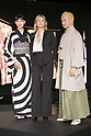 (L to R) Japanese actress and fashion model Hikari Mori, model Kate Moss and kabuki actor Shido Nakamura, attend the opening ceremony for the KIMONO ROBOTO exhibition at Omotesando Hills on November 30, 2017, Tokyo, Japan. The exhibition features 13 kimonos created by experts using traditional methods and a humanoid robot dressed in traditional kimono performing in the middle of the hall. The exhibition runs til December 10. (Photo by Rodrigo Reyes Marin/AFLO)