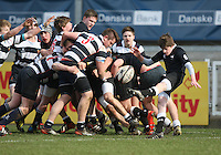 11 March 2013; Malcolm Corry in action during the Medallion Shield Final between Wallace High School and Campbell College at Ravenhill, Belfast, DICKSONDIGITAL