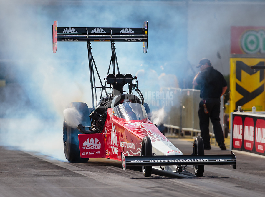 Mar 15, 2019; Gainesville, FL, USA; NHRA top fuel driver Doug Kalitta during qualifying for the Gatornationals at Gainesville Raceway. Mandatory Credit: Mark J. Rebilas-USA TODAY Sports