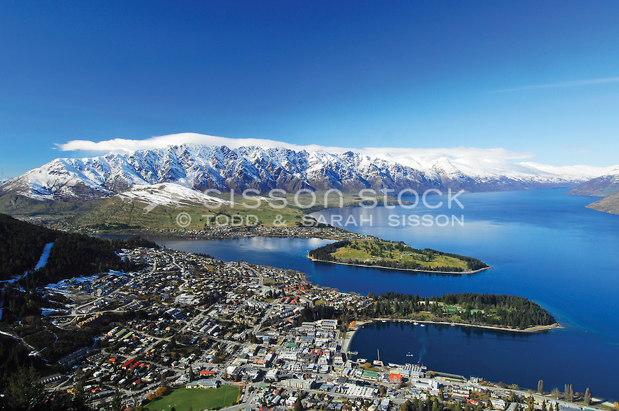 Queenstown, Lake Wakatipu and the Remarkables from the Skyline Gondola, on sunny winter day. South Island New Zealand