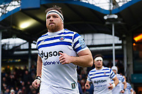 Henry Thomas and the rest of the Bath Rugby team run onto the field. Gallagher Premiership match, between Worcester Warriors and Bath Rugby on January 5, 2019 at Sixways Stadium in Worcester, England. Photo by: Patrick Khachfe / Onside Images