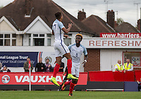 Dominic Calvert-Lewin (Everton) of England celebrates his goal with Joshua Onomah (Tottenham Hotspur) of England during the International match between England U20 and Brazil U20 at the Aggborough Stadium, Kidderminster, England on 4 September 2016. Photo by Andy Rowland / PRiME Media Images.