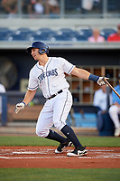 Charlotte Stone Crabs third baseman Kevin Padlo (11) follows through on a swing during a game against the Palm Beach Cardinals on April 20, 2018 at Charlotte Sports Park in Port Charlotte, Florida.  Charlotte defeated Palm Beach 4-3.  (Mike Janes/Four Seam Images)