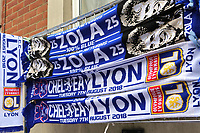 Chelsea v Lyon scarves and Zola scarves on display on the stalls outside Stamford Bridge during Chelsea vs Lyon, International Champions Cup Football at Stamford Bridge on 7th August 2018