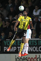 Burnley's Chris Wood battles with Burton Albion's Lucas Atkins<br /> <br /> Photographer Mick Walker/CameraSport<br /> <br /> The Carabao Cup Round Three   - Burton Albion  v Burnley - Tuesday  25 September 2018 - Pirelli Stadium - Buron On Trent<br /> <br /> World Copyright &copy; 2018 CameraSport. All rights reserved. 43 Linden Ave. Countesthorpe. Leicester. England. LE8 5PG - Tel: +44 (0) 116 277 4147 - admin@camerasport.com - www.camerasport.com