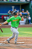 Aaron Schnurbusch (21) of the Great Falls Voyagers follows through on his swing against the Ogden Raptors during the Pioneer League game at Lindquist Field on August 18, 2016 in Ogden, Utah. Ogden defeated Great Falls 10-6. (Stephen Smith/Four Seam Images)