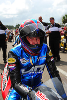 Mar. 9, 2012; Gainesville, FL, USA; NHRA pro stock motorcycle rider Mike Berry during qualifying for the Gatornationals at Auto Plus Raceway at Gainesville. Mandatory Credit: Mark J. Rebilas-