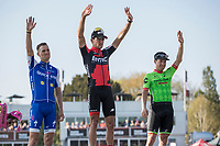 podium ceremony:<br /> 1. Greg Van Avermaet (BEL/BMC)<br /> 2. Zdenek Stybar (CZE/Quick Step Floors)<br /> 3. Sebastian Langeveld (NED/Cannondale Drapac)<br /> <br /> 115th Paris-Roubaix 2017 (1.UWT)<br /> One day race: Compi&egrave;gne &gt; Roubaix (257km)