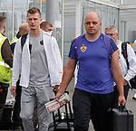 08.08.18 FK Maribor arrive at Glasgow airport: Aleks Pihler (L)