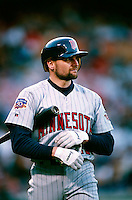 Chuck Knoblauch of the Minnesota Twins during a game at Anaheim Stadium in Anaheim, California during the 1997 season.(Larry Goren/Four Seam Images)
