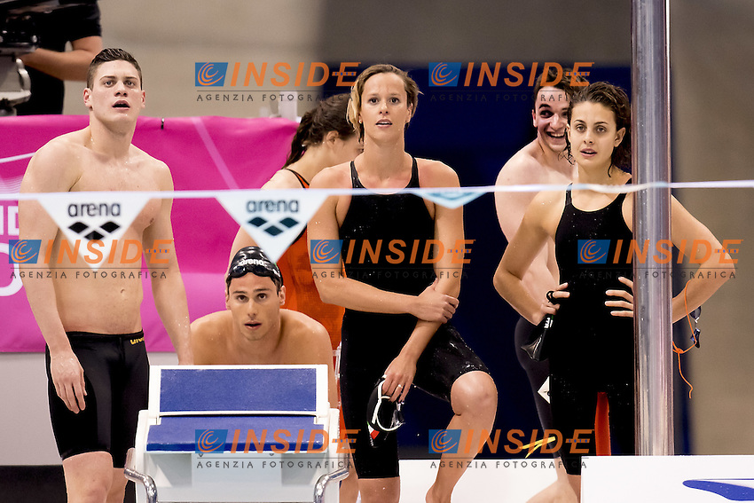 ITALY (L to R) SABBIONI; CODIA; PELLEGRINI; CARRARO<br /> 4x100 medley mixed relay<br /> Queen Elizabeth II Olympic Park Pool <br /> LEN 2016 European Aquatics Elite Championships <br /> Swimming day 02 finals<br /> Day 09 17-05-2016<br /> Photo Giorgio Scala/Deepbluemedia/Insidefoto