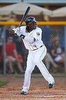 Lakeland Flying Tigers center fielder Cameron Maybin (4), on rehab assignment from the Detroit Tigers, at bat during a game against the Tampa Yankees on April 7, 2016 at Henley Field in Lakeland, Florida.  Tampa defeated Lakeland 9-2.  (Mike Janes/Four Seam Images)