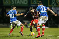 Blackburn Rovers' Adam Armstrong competing with Portsmouth's Nathan Thompson and Gareth Evans <br /> <br /> Photographer Andrew Kearns/CameraSport<br /> <br /> The EFL Sky Bet League One - Portsmouth v Blackburn Rovers - Tuesday 13th February 2018 - Fratton Park - Portsmouth<br /> <br /> World Copyright &copy; 2018 CameraSport. All rights reserved. 43 Linden Ave. Countesthorpe. Leicester. England. LE8 5PG - Tel: +44 (0) 116 277 4147 - admin@camerasport.com - www.camerasport.com