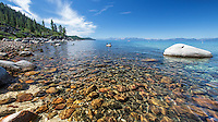 The water is still beautifully clear in Lake Tahoe, thanks to the efforts by many to raise public awareness of the health of the lake.  Sand Harbor, on the Nevada side of the lake, is one of the best places to observe Tahoe's pristine waters.