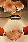 Illustrative image of man looking at handshake through magnifying glass