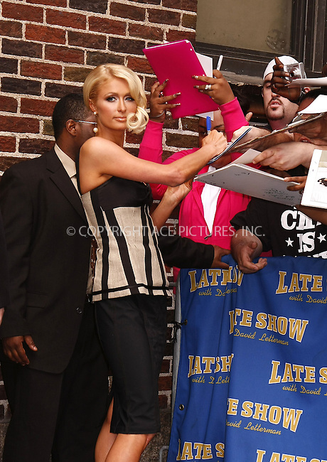 WWW.ACEPIXS.COM . . . . .  ....May 8 2008, New York City....TV Personality Paris Hilton made an appearance on the 'Late Show with David Letterman' at the Ed Sullivan Theatre in midtown manhattan.....Please byline: AJ Sokalner - ACEPIXS.COM..... *** ***..Ace Pictures, Inc:  ..te: (646) 769 0430..e-mail: info@acepixs.com..web: http://www.acepixs.com