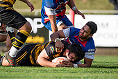 David O'Connell crashes over to score for Bombay. Counties Manukau Premier 1 McNamara Cup Final between Ardmore Marist and Bombay, played at Navigation Homes Stadium on Saturday July 20th 2019.<br />  Bombay won the McNamara Cup for the 5th time in 6 years, 33 - 18 after leading 14 - 10 at halftime.<br /> Photo by Richard Spranger.