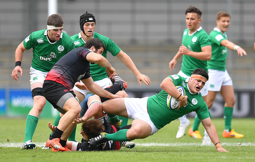 Ireland's Vakh Abdaladze is tackled <br /> <br /> Photographer Dave Howarth/CameraSport<br /> <br /> International Rugby Union - U20 World Rugby Championships 2016 - Pool B - Match 17 - Pool A Ireland U20 v Georgia U20 - Wednesday 15th June 2016 - Manchester City Academy Stadium - Manchester<br /> <br /> World Copyright &copy; 2016 CameraSport. All rights reserved. 43 Linden Ave. Countesthorpe. Leicester. England. LE8 5PG - Tel: +44 (0) 116 277 4147 - admin@camerasport.com - www.camerasport.com<br /> <br /> Photographer Stephen White/CameraSport<br /> <br /> International Rugby Union - U20 World Rugby Championships 2016 - Pool C France U20 v Argentina U20 - Match 1 - Tuesday 07th June 2016 - AJ Bell Stadium - Salford - England<br /> <br /> World Copyright &copy; 2016 CameraSport. All rights reserved. 43 Linden Ave. Countesthorpe. Leicester. England. LE8 5PG - Tel: +44 (0) 116 277 4147 - admin@camerasport.com - www.camerasport.com