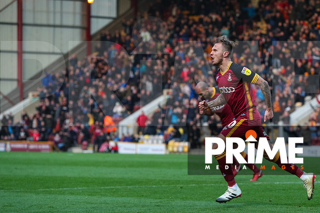 David Ball of Bradford City celebrates scoring during the Sky Bet League 1 match between Bradford City and Oxford United at the Northern Commercial Stadium, Bradford, England on 24 November 2018. Photo by Thomas Gadd.