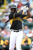 Outfielder Andrew McCutchen (22) of the Pittsburgh Pirates during a spring training game against the New York Yankees on February 26, 2014 at McKechnie Field in Bradenton, Florida.  Pittsburgh defeated New York 6-5.  (Mike Janes/Four Seam Images)
