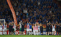 20170718 - TILBURG , NETHERLANDS : Iceland's players doing the Hakka clapping with their fans  pictured after the female soccer game between France and Iceland  , the frist game in group C at the Women's Euro 2017 , European Championship in The Netherlands 2017 , Tuesday 18 th June 2017 at Stadion Koning Willem II  in Tilburg , The Netherlands PHOTO SPORTPIX.BE | DIRK VUYLSTEKE