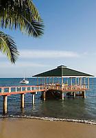 Seychelles, Island Praslin, Anse Bateau: Hotel Coco de Mer - beach, jetty<br />