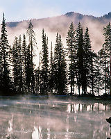Island of trees at sunrise in Sparks Lake in Deschutes National Forest, Oregon