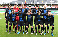 20191211 – OOSTENDE , BELGIUM : Club Brugge's players with Senne Lammens (1) , Ignace Van Der Bempt (2) , Lars Dendoncker (4) , Maxim De Cuyper (5) , Wilkims Ochieng (7) , Mathias De Wolf (8) , Noah Aelterman (9) , Thibo Baeten (10) , Jarno Vervaque (12) , Thomas Van Den Keybus (15) and Xander Blomme (16) pictured posing for the teampicture during a soccer game between Club Brugge KV and Real Madrid on the sixth and last matchday in group A of the UEFA Youth League - Champions League season 2019-2020 , thuesday 11 th December 2019 at the Versluys Arena in Oostende , Belgium . PHOTO SPORTPIX.BE | DAVID CATRY