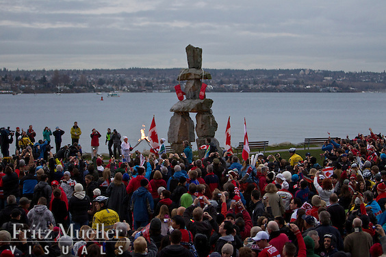 English Bay Inuksuk on the final day of the Olympic Torch Relay