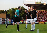 Lincoln City's Elliott Whitehouse, right, speaks to Referee Darren England after he had disallowed his goal<br /> <br /> Photographer Chris Vaughan/CameraSport<br /> <br /> The EFL Sky Bet League Two Play Off Second Leg - Exeter City v Lincoln City - Thursday 17th May 2018 - St James Park - Exeter<br /> <br /> World Copyright &copy; 2018 CameraSport. All rights reserved. 43 Linden Ave. Countesthorpe. Leicester. England. LE8 5PG - Tel: +44 (0) 116 277 4147 - admin@camerasport.com - www.camerasport.com