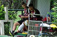 SÃO PAULO, SP, 18.11.2016 – FUTEBOL-SAO PAULO -  Lucas Fernandes e David Neres durante treino do São Paulo realizado no CT da Barra Funda, na zona oeste da capital, na manhã desta sexta - feira (18).(Foto: Renato Gizzi/Brazil Photo Press)