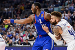 Real Madrid's Jeffery Taylor and Anadolu Efes's Bryant Dunston during Turkish Airlines Euroleague match between Real Madrid and Anadolu Efes at Wizink Center in Madrid, April 07, 2017. Spain.<br /> (ALTERPHOTOS/BorjaB.Hojas)