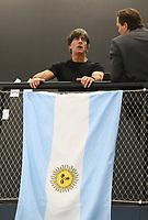 Bundestrainer Joachim Loew (Deutschland Germany) bei der Flagge von Argentinien - 15.05.2018: Vorläufige WM-Kaderbekanntgabe, Deutsches Fußballmuseum Dortmund